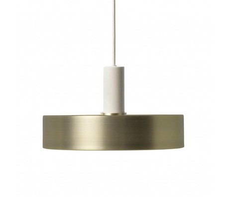 Ferm Living Hanglamp record low brass goud licht grijs metaal