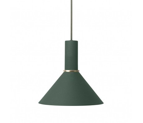 Ferm Living Hanging lamp Cone low dark green metal
