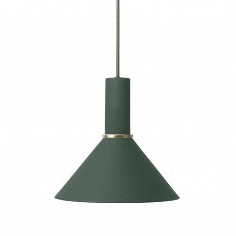 Ferm Living Hanglamp Cone low donker groen metaal