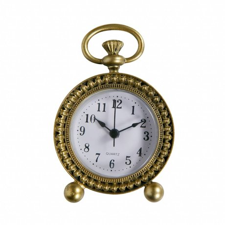 BePureHome Clock Moment antique brass gold metal 11,5x8x3cm