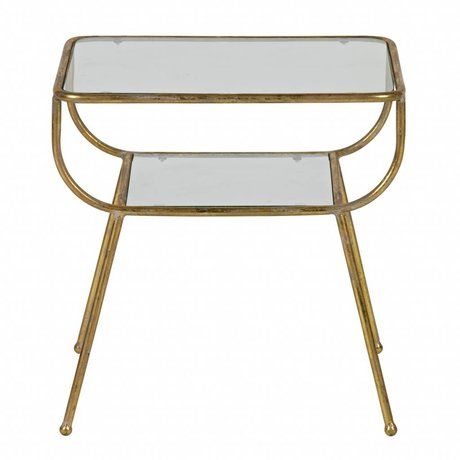 BePureHome Side table Amazing antique brass gold metal glass 47x47x40,5cm