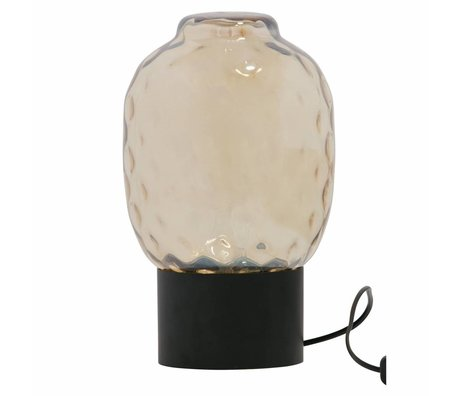 BePureHome Tafellamp Bubble XL antiek brass goud glas 34x21x21cm