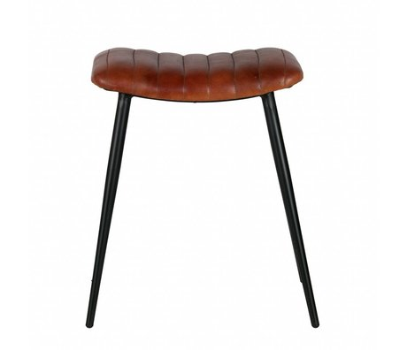 BePureHome stool Hunt cognac brown leather 56x45x39cm