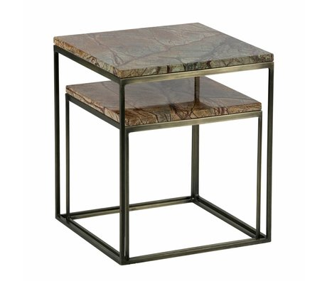 BePureHome Side table Mellow antique brass gold marble set of 2