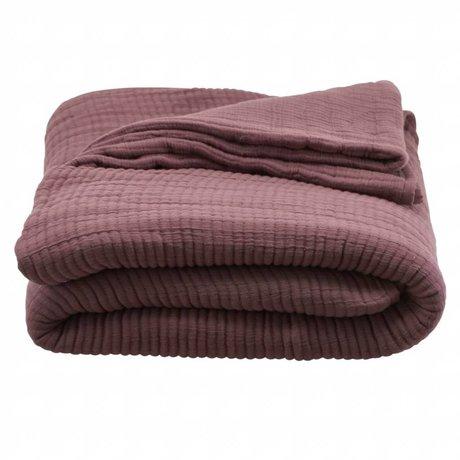 Housedoctor Bedspread Lia bordeaux cotton 260x140cm