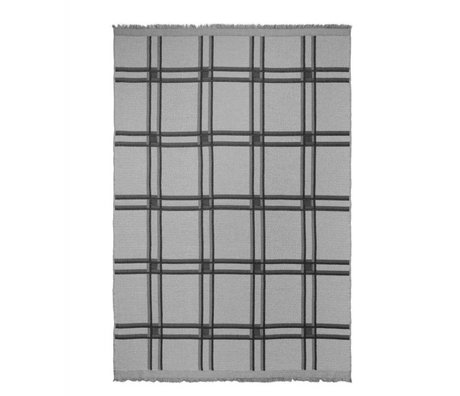 Ferm Living Plaid Karo Wollmischung grau Textil 180x120cm
