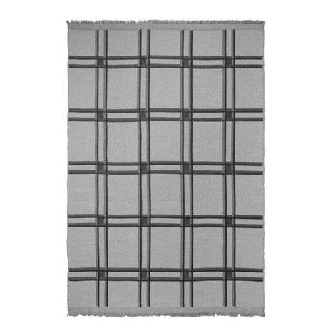 Ferm Living Karo karierte Wollmischung grau Textil 180x120cm