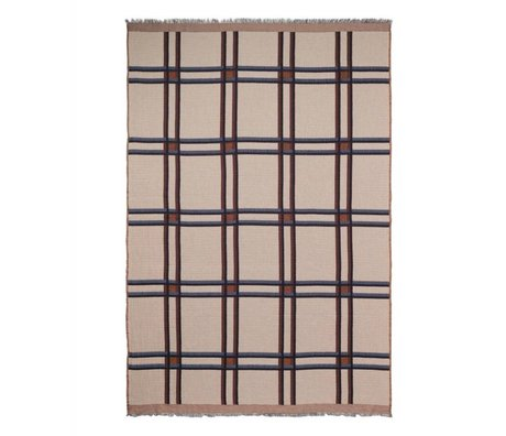 Ferm Living Karo Plaid Wollmischung beige Textil rot 180x120cm