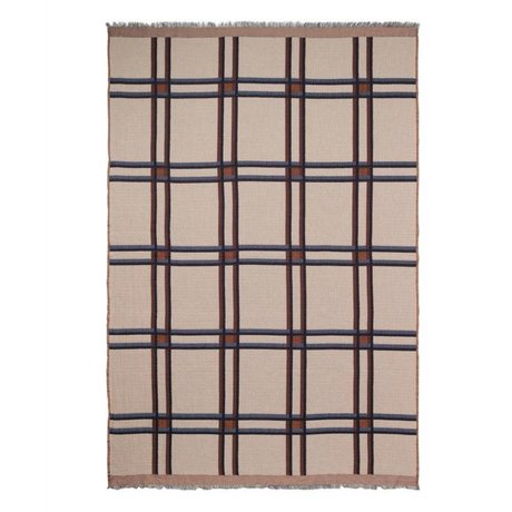 Ferm Living Plaid Checked Wool Blend beige red textile 180x120cm