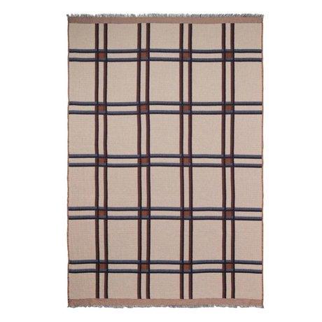 Ferm Living Plaid Karo Wollmischung beige rot Textil 180x120cm