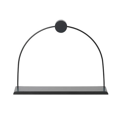 Ferm Living Wall shelf Bathroom black metal wood 26x10x21cm