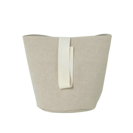 Ferm Living Laundry basket Chambray small beige cotton Ø22x25cm