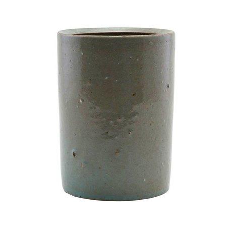 Housedoctor Topf grau / grünen Ton ¯8,5x10cm