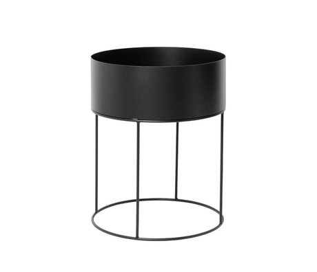 Ferm Living Plant box rond zwart metaal ∅40x50cm