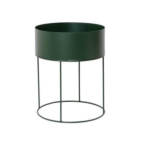 Ferm Living Plant box rond donkergroen metaal ∅40x50cm