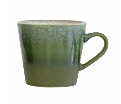 HK-living Cappuccino mug Forest '70's style green ceramic 12x9,5x8,5cm