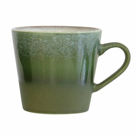 HK-living Cappuccino mug Forest '70's ​​style green ceramic 12x9,5x8,5cm