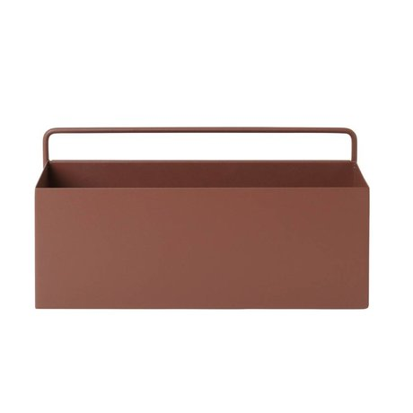Ferm Living Plantenbox Wand Rectangle rotbraunes Metall 30,6x14,6x15,6cm