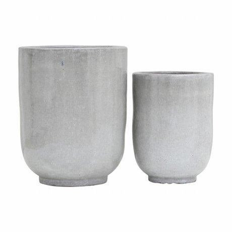 Housedoctor Bloempot Pho grijs keramiek set van 2