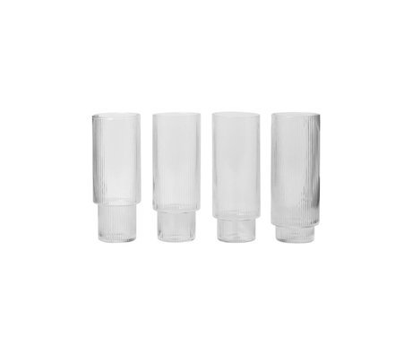 Ferm Living Longdrinkglas Ripple transparant glas Ø7x14cm set van 4