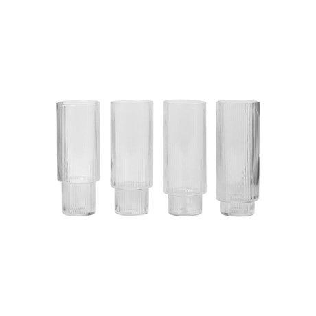 Ferm Living Longdrinkglas Ripple transparentes Glas Ø7x14cm Satz von 4