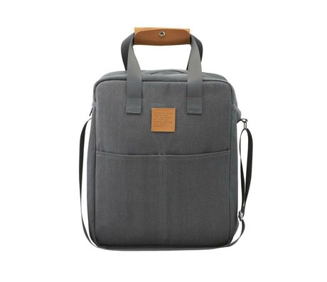 Housedoctor Cooler bag picnic gray cotton 30x18x38cm