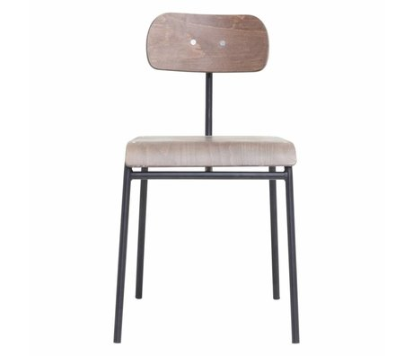 Housedoctor Dining Chair Schule dunkelbraunes Holz 41,5x41x45cm