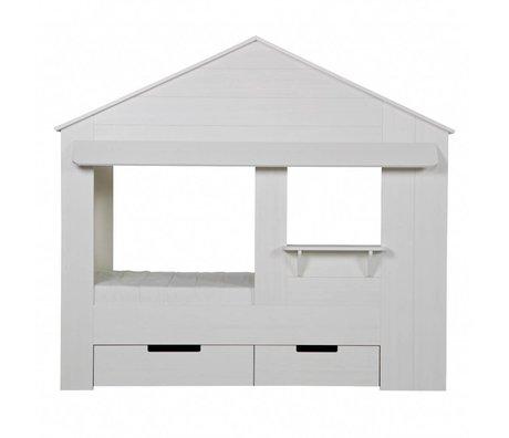 LEF collections Huisie bedstee wit, excl bedladen210x99x87cm