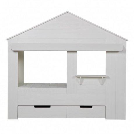 LEF collections Huisie Bettgestell weiß, ohne Ladefläche 187x210x99cm