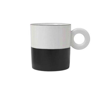 HK-living Mok zwart wit keramiek 10,5x7,5x8cm