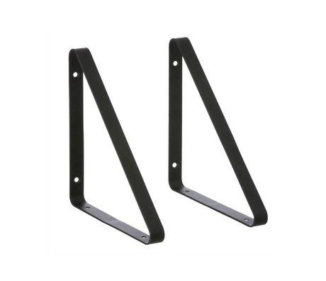 Ferm Living Plankdragers zwart metaal set van 2 24,5x2,5x24,5cm