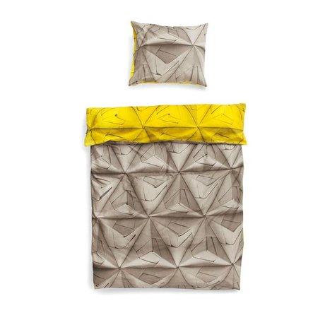 Snurk Beddengoed Duvet cover 'Monogami yellow' yellow gray cotton 140x200 / 220cm
