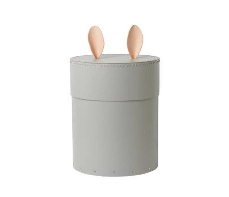Ferm Living Opbergbox Rabbit grijs karton leer Ø30x35cm