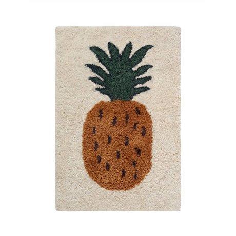 Ferm Living Teppich Fruiticana Ananas multicolor Textil S 120x80cm
