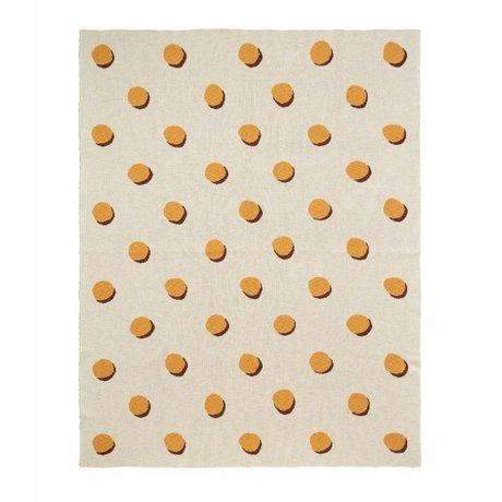 Ferm Living Decke Double Dot weiß gelb Textil 160x120cm
