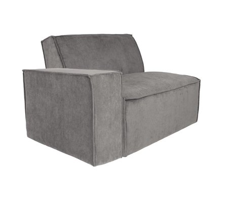 Zuiver Sofa Element James Arm links graue Rippe Stoff 112x91x74cm