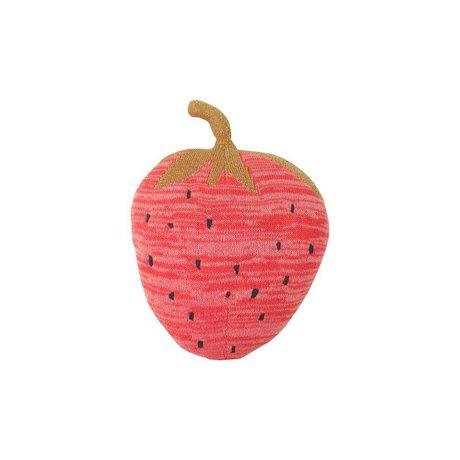 Ferm Living Knuffel Fruiticana Strawberry rood katoen 31x23cm