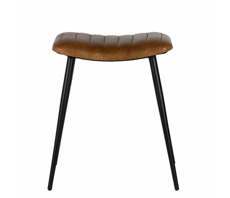 BePureHome stool Hunt olive green leather 56x45x39cm