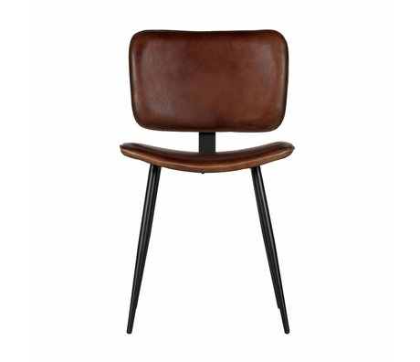 BePureHome Dining chair Range cognac brown leather 82x47x51cm