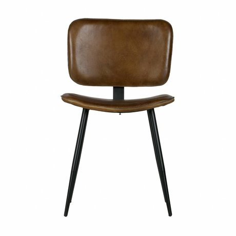BePureHome Dining chair Range olive green leather 82x47x51cm