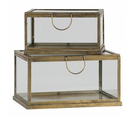 BePureHome Aufbewahrungsbox Fortune-Messing Antik Gold-Metall-Glas 2er-Set