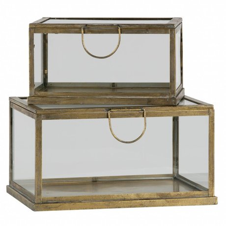 BePureHome Storage box Fortune antique brass gold metal glass set of 2