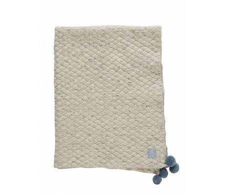 OYOY Blanket Kami gray light blue organic cotton 80x100cm