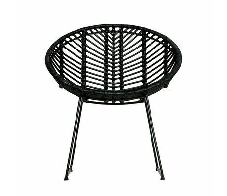 WOOOD Gartenstuhl April schwarz Rattan 83x58x58cm