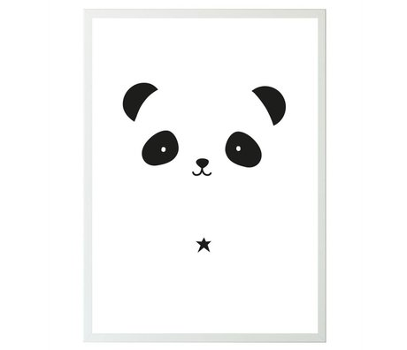 A Little Lovely Company Poster Panda white black paper 50x70cm