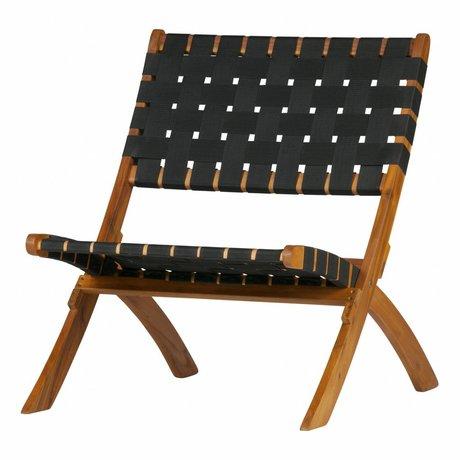 WOOOD Armchair / Garden chair Lois black woven natural wood 72,5x78x60cm