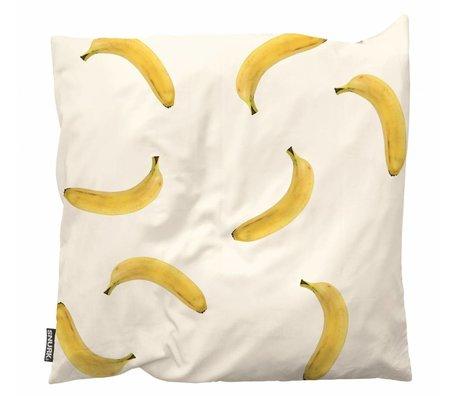 Snurk Beddengoed Throw pillow Banana Monkey white yellow cotton 50x50cm
