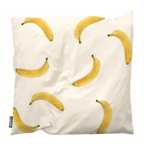 Snurk Beddengoed Dekokissen Banana Monkey weiß gelb Baumwolle 50x50cm