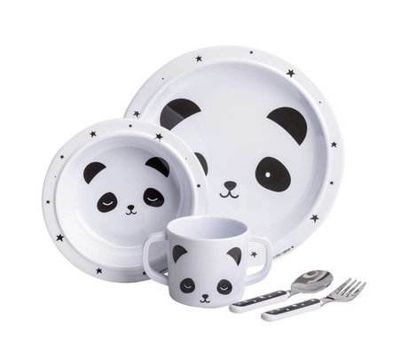A Little Lovely Company Kids set Panda white black set of