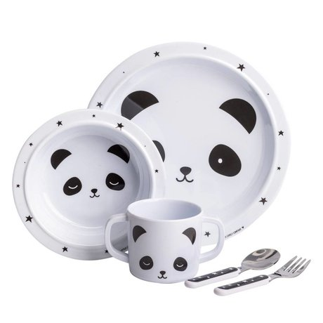 A Little Lovely Company Kinderservies Panda wit zwart set van